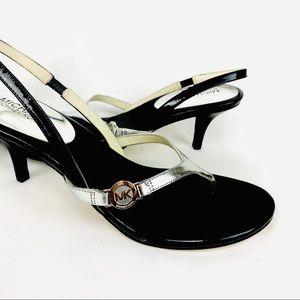 Michael Kors Bridget Black Silver Sandal - Size 9